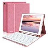 HOTLIFE Clavier Bluetooth Coque iPad Air 2019(3rd Gen)/iPad Pro 10.5 2017, Housse Clavier pour ipad Air 10,5 Clavier Bluetooth sans Fil Slim,Etui avec Fente Intégré, AZERTY Français Keyboard-Rose