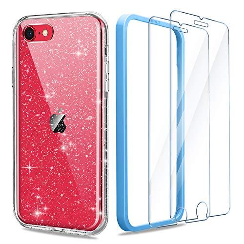AROYI Funda para teléfono móvil compatible con iPhone SE 2020/iPhone 7/iPhone 8, funda con 2 unidades de cristal blindado y carcasa transparente de silicona TPU