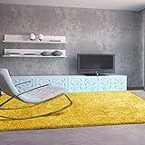 UNIVERSAL Alfombra salón de Pelo Largo Shaggy Aqua Liso Amarillo 100x150 cm