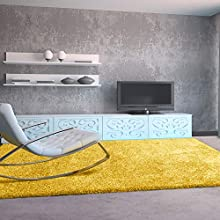 Universal Alfombra salón de Pelo Largo Shaggy Aqua Liso Amarillo 57x110 cm