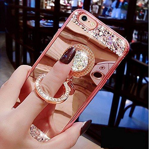 COTDINFOR iPhone 5S Funda de Espejo Lindo para niñas Case de Cristal Brillante Bling Diamond Glitter TPU Protectora con Soporte de Anillo para iPhone 5S / 5 / SE Ring Mirror Rose Gold.