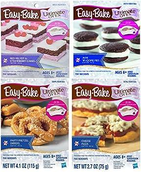 Easy Bake Mega Bundle Set of 4 Oven Mixes Refills  Pizza Party Pretzel Dippers Red Velvet & Strawberry Cakes Mini Whoopie Pies