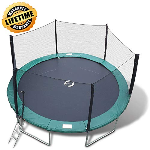 Happy Trampoline - Galactic Xtreme Gymnastic Round Trampoline with Safety Net Enclosure - Heavy Duty Gymnastic Commercial Grade - 550 lbs Capacity on Frame & Springs, 14 FT