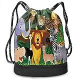 shenguang Kordelzug Rucksäcke Taschen, Tiere im Dschungel Lustige Ausdrücke Exotischer Comic Cheer Natural Habitat Illustration, verstellbar