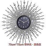 Luosheng Reloj de Arte Creativo Europeo, Reloj de Hierro de Moda de Personalidad, Reloj de Pared de decoración de Dormitorio silencioso Moderno-Campana Grande de Diamante Blanco Negro
