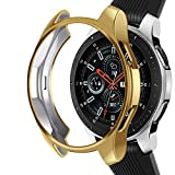Case Compatible Samsung Galaxy Watch 46mm, NaHai TPU Slim Plated Case Shock-Proof Cover All-Around Protective Bumper Shell for Galaxy Watch 46mm SM-R800 Smartwatch, Gold