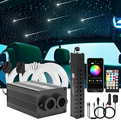 CHINLY Bluetooth Meteor 12W RGBW Twinkle LED Kit de luces de techo de estrella de fibra óptica APLICACIÓN / Control remoto mixto 400 + 8 = 408pcs * 3m para el hogar / el automóvil
