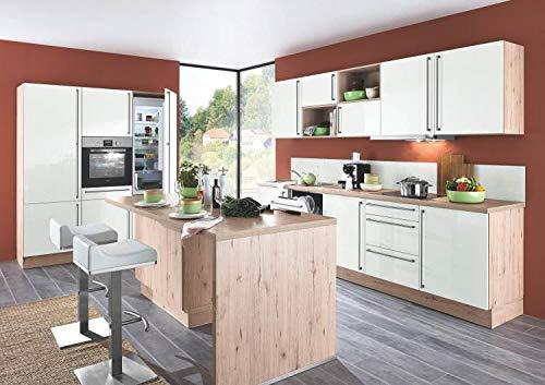 Inselküche Susann 297 inkl E-Geräte 180 x 300 x 199 cm von Burger Silk HG/Eiche Terra