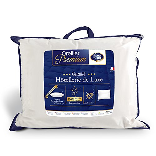 Sweetnight - Oreiller Percale | 50x70 cm | 100% Coton | Confort Gonflant et Moelleux | Anti Acariens |Qualité...