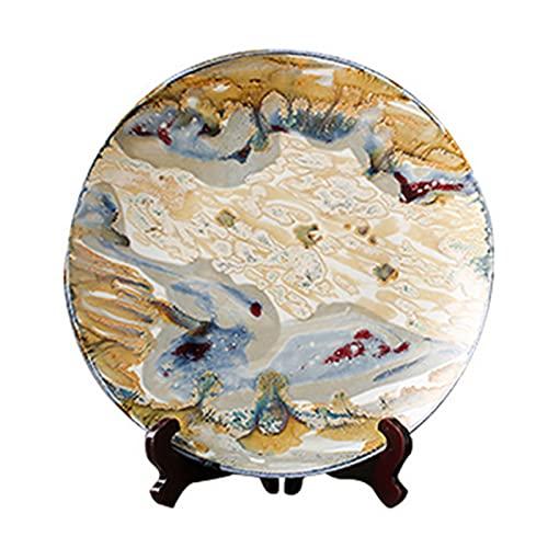 HHTX Plato de Cena, Plato Decorativo de cerámica de Estilo Europeo, Adornos en el Estante del Plato, Manualidades de la Sala, Platos de Plato, Adornos de Plato de Porcelana
