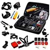 Navitech 30-in-1 Action Camera Accessories Combo Kit with EVA Case Compatible with The Vivitar DVR 936HD LifeCam Air | Vivitar DVR798HD LifeCam? Air