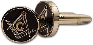 "Square & Compass Round Silver & Black Masonic Cufflink Set - 5/8"" Diameter"