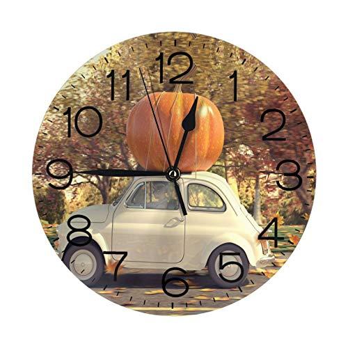 Kürbis im Auto Wanduhr 25,4 cm rund, geräuschlos, kein Ticken, Quarz – batteriebetriebene Wanduhr ohne Ticken, geräuschlose Uhren für Wohnkultur, Wohnzimmer, Küche, Schlafzimmer, Büro, Schule