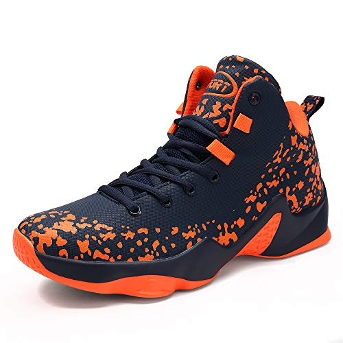 CXQWAN Chaussures de Basket-Ball Hommes, Haut Baskets Basses Sports Marche Chaussures de Course Haute Elasticité Non-Slip Convient pour Venues en Plastique intérieur et extérieur,Orange,44