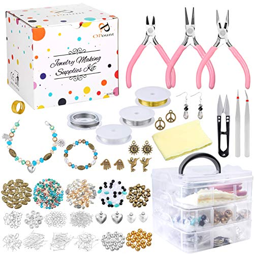 PP OPOUNT Jewelry Making Supplies, Jewelry Making Kit with Jewelry Beads, Findings, Pliers, Cutters, Tweezers, Beading Wire, Storage Case, Charms for Jewelry Necklace Bracelet Making Repair