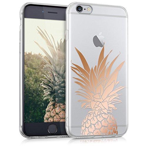 kwmobile Hülle kompatibel mit Apple iPhone 6 / 6S - Handyhülle - Handy Hülle Ananas Strauch Rosegold Transparent