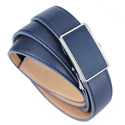 Men Ratchet Leather Belt 1 1/8'' Wide Automatic Buckle Dress Belt - Best Gifts for Young Men