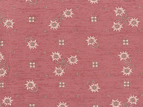 Landhaus Möbelstoff Edelweiss Farbe 48 (rosa) mit biologischem Fleckschutz - modernes Chenille-Flachgewebe (gemustert, floral, Blumen) Polsterstoff, Stoff, Bezugsstoff, Eckbank, Couch, Sessel, Hussen, Kissen