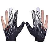 2 guantes de billar, guantes de billar, guantes de billar, 3 dedos de licra elástica, guantes de billar, accesorios de billar para mano izquierda y derecha (blanco)