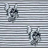 Baumwolljersey Französische Bulldogge & Streifen grau