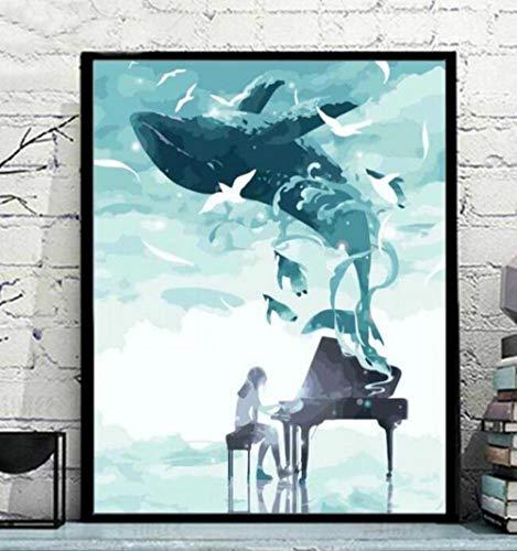 Diamant Schilderen Verf Door Aantal Kits Volledige Boor DIY 5D Kunst Ambacht Voor Thuis Muurdecoratie Grote Foto's Cross Steek Strass Borduurwerk Piano Dolfijnen