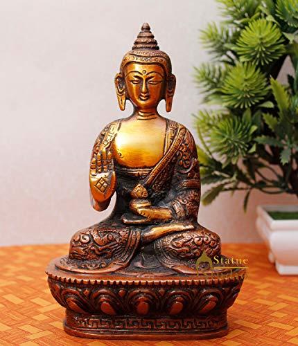 StatueStudio Brass Buddha Statue for Home Decor Diwali Office Corporate Gift Meditation Showpiece Figurine Copper Orange (5 × 3 × 7 Inches)