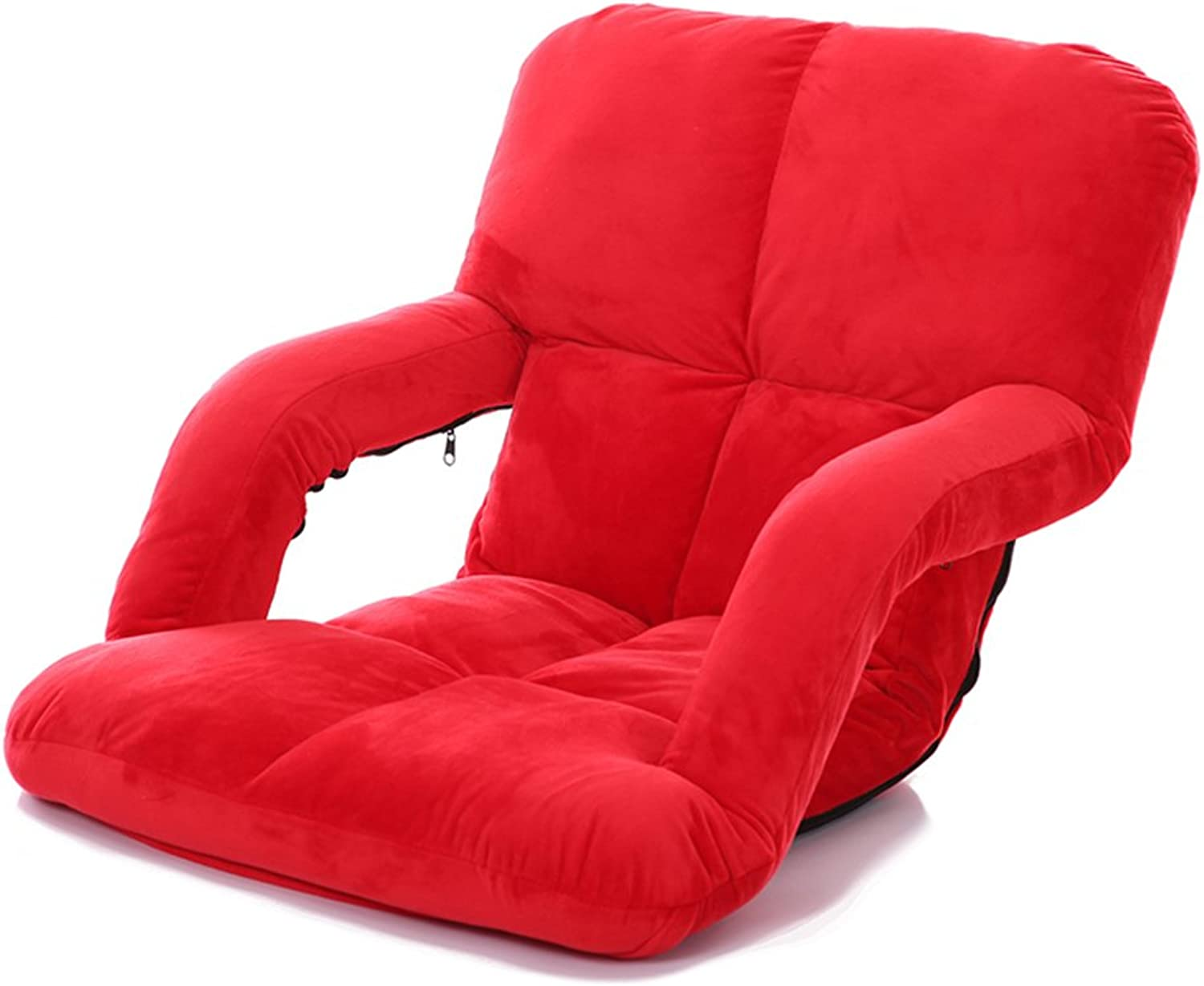 MAHZONG Recliners Folding Single Small Sofa, Bed Computer Chair Floor Balcony Sofa (color   RED)