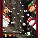 La fenêtre Scrive avec des décalcomanies de flocons de neige amovibles PVC Stickers Stickers Stickers vitrine S Afficher les décorations de décalcomanie réutilisables avec Père Noël et bonhomme de nei