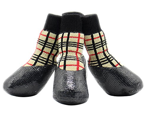 AIYUE® 4pcs Zapatos Botas Impermeables Calcetines Antideslizantes Deportivos Protector Pies Botines Calzados Patas de Suela Goma Transpirables para Mascotas Perros Cachorros