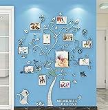 Árbol Pegatinas de Pared 3D Árbol Familia Marco de Fotos DIY Murales Stickers Decoración para Salón, Dormitorio, Oficina, Habitación Pegatinas Pared(2 Plata,L: 175*144cm)