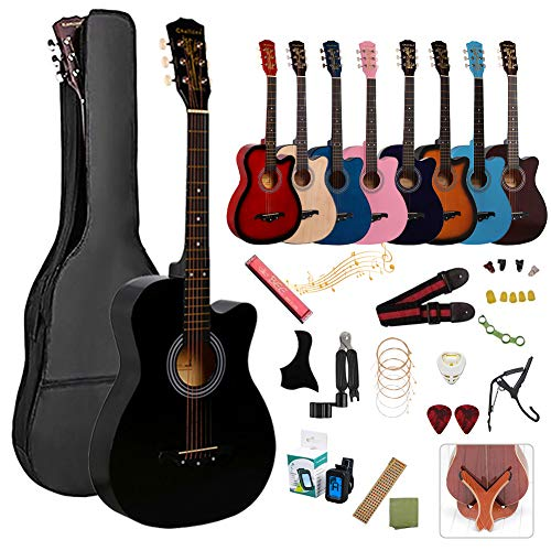 Acoustic Guitar, 17 Piece Set, Guitar with Instructional Book (Japanese), Beginners, Classic Guitar, Beginners, Beginners, Elementary School Students, Adult Guitar, Beginners, Beginners, Set of Guitar, String Bag, Strap, Tuner, Pick Guard, Strap Polishing Cloth, Acoustic Set