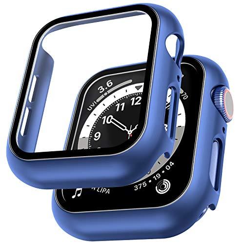 LϟK 2 Pack Funda Protector de Pantalla de Cristal Templado Incorporado para Apple Watch 40mm Series 6 5 4 SE - Estuche Protector General para PC Duro HD Ultra-Thin Carcasa para iWatch 40mm - Azul