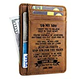 Engraved Leather Front Pocket Wallet for Man - Gifts for Son from Dad - Custom Wallet RFID Blocking (W03-087-DadSon) Card Case Wallet for Him