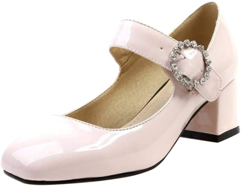 Kaizi Karzi Women Fashion Chunky Heel Mary Jane shoes Square Toe