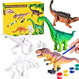 Kids Crafts Dinosaur Painting Kit - 8 DIY Kids Paint Dino Toys + 5 Watercolors Set + 6 Brushes + 8 Painting Plates, 3D Dinosaur Painting Set, Arts and Crafts for Kids - Paint Your Own Dinosaur Crafts