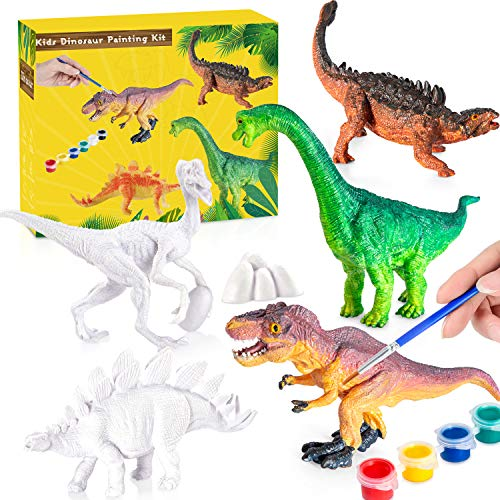 Kids Crafts Dinosaur Painting Kit - 8 DIY Kids Paint Dino Toys + 5 Watercolors Set + 4 Brushes + 8 Painting Plates, 3D Dinosaur Painting Set, Arts and Crafts for Kids - Paint Your Own Dinosaur Crafts