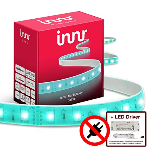 Innr Flex Light Color, smart ledstrips, 4 m, (geen stroomstekker), compatibel met Philips Hue en Amazon Echo Plus, LED-driver, dimbaar, RGBW, FL 130C/LD