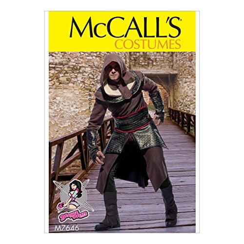 McCall's Patterns Assassin's Tunika, Top, Capelet, Gürtel und Stulpe Cosplay Kostüm Nähmuster für Herren von Yaya Han, Größen 38–44