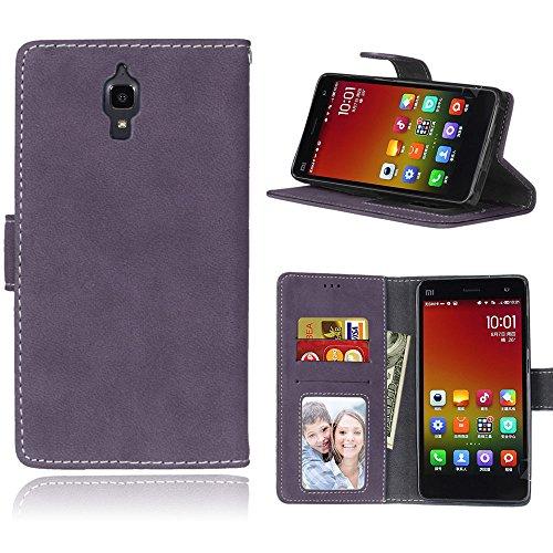 Funda Xiaomi 4 Xiao Mi 4 MI4 M4,Bookstyle 3 Card Slot PU Cuero Cartera para TPU Silicone Case Cover(Violeta)