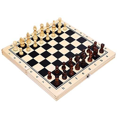 Sysrqcer Conjunto Internacional de Ajedrez, Juego de Juego de Ajedrez Set Doblado Chess Chess Checkers Set Portable International Board Chess Caja de Viaje Juguete Educativo para niños y Adultos
