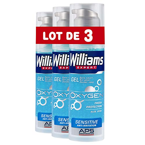 Williams Oxygen - Gel de afeitar para piel sensible, 150 ml, pack de 3