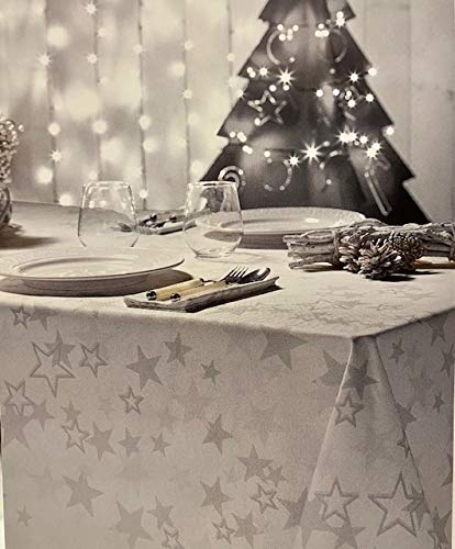 Tovaglia Natale rettangolare Etoile Bianco