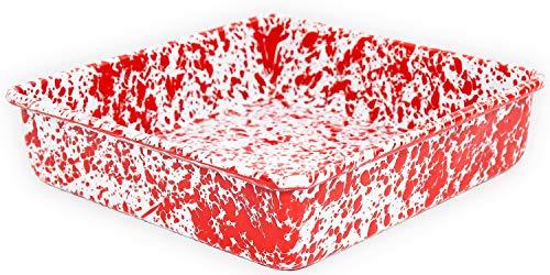 Enamelware Square Brownie Pan, 9 inch, Red White Splatter