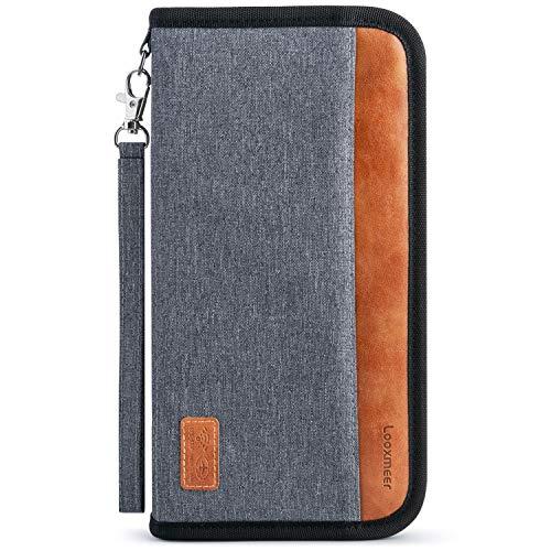 Looxmeer Portefeuilles Passeport, Porte-Passeport Porte-Organiseur de Voyage Portefeuille de Documents Portable avec Blocage RFID,...