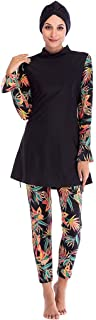 بدلة سباحة حريمي إسلامية بأكمام طويلة من Ababalaya مطبوع عليها صورة استوائية غطاء كامل للحجاب، أسود، مقاس 2XL = مقاس أمريك...