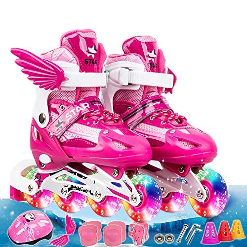 Kinder Verstellbar Inline Skates Stylish Beginner Rollschuhe mit Zwei Abnehmbaren Flügeln und Leuchtenden PU-Rdern fr Mdchen Jungen Kinetic Roller Skates Dicke Schutzausrüstung N