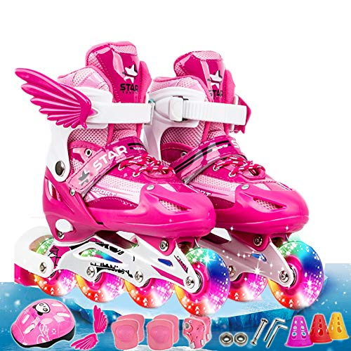 NIUJF Adjustable Inline Skates with Detachable Wings Beginner Safe Protective Set Gifts for Boys Girls Illuminating Rollerblades Outdoor Streets Indoor Skating Party Smooth Sliding L