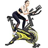 Pooboo Indoor Cycling Bike Magnetic Exercise Bike Stationary with Comfortable Seat Cushion, Tablet Holder and LCD Monitor for Home Workout