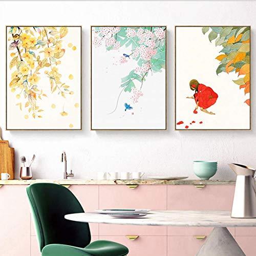 Tríptico Arte De La Pared Lienzo 3 Piezas Chica En Rojo Deja Flores Tríptico Cuadro Moderno Corredor Dormitorio Trípticos De Salon Decoracion Mural Pintura Al Óleo-A1