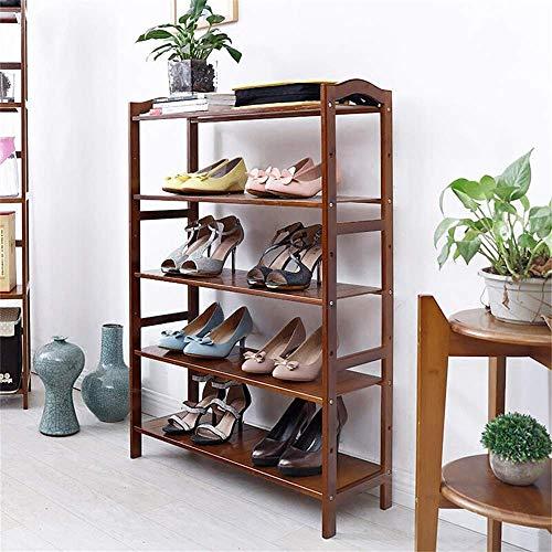 LLLKKK Zapatero de bambú multicapa, color marrón, retro, estantería Dark Dormitory Simple Flat Small Shoe Cabinet, longitud 50 x 26 x 102 cm, 50 x 26 x 102 cm